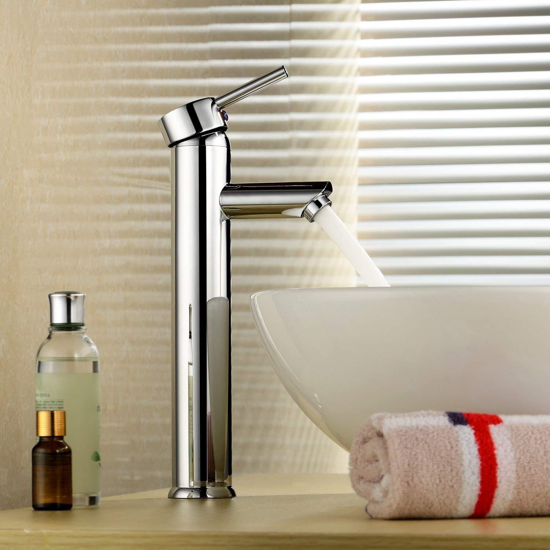 Robinetterie de lavabo /à 1 poign/ée Robinet de lavabo /à cascade Waterfall pour salle de bains publique Ktchen Salle de bains en acier chrom/é /à fermeture automatique pour Robinet de lavabo /à 1 poign/ée