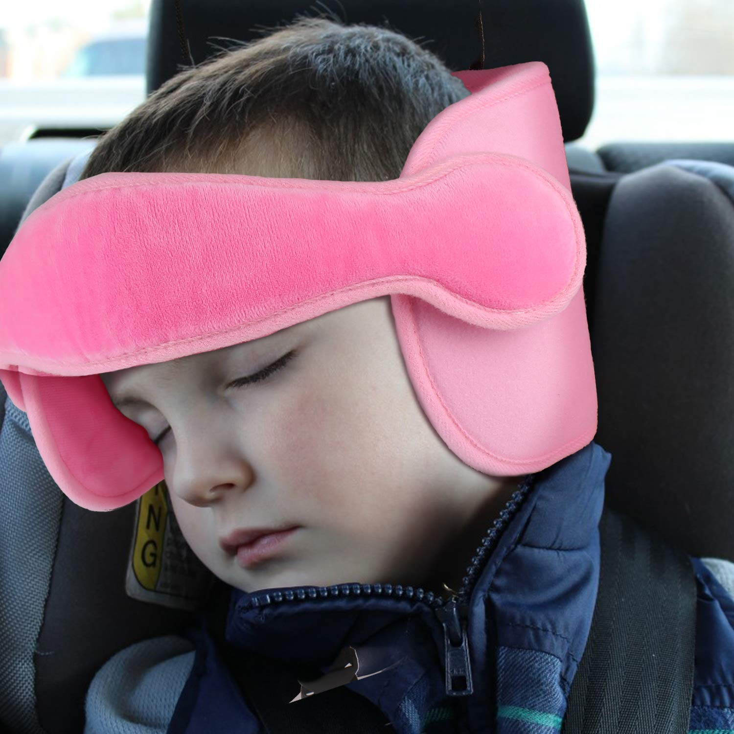 Details About Baby Car Seat Head Neck Support With Band Soft Adjule Toddler Travel Pillow