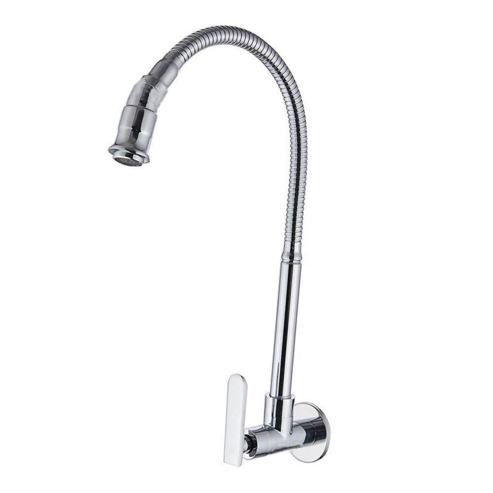 Details about Wall Mount Kitchen Tap - Flexible Single Handle Single Hole  Kitchen Faucet