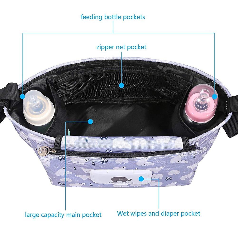 Organisateur de couches Sac /à langer Sac de rangement pour poussette /étanche avec boucle et fermeture Velcro pour poussette Grande capacit/é