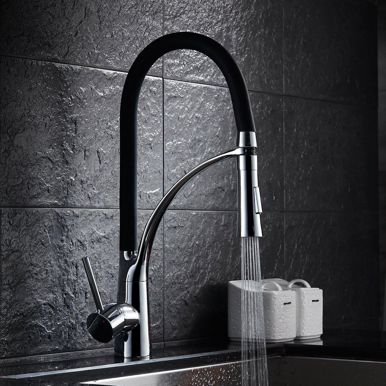 Noir mat sorti robinet de cuisine robinets robinets de cuisine seul robinet levier de m/élangeur avec douchette main robinet de cuisine de pulv/érisation douche /à main